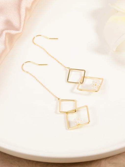 Lin Liang Brass Imitation Pearl White Geometric Minimalist Drop Earring 0