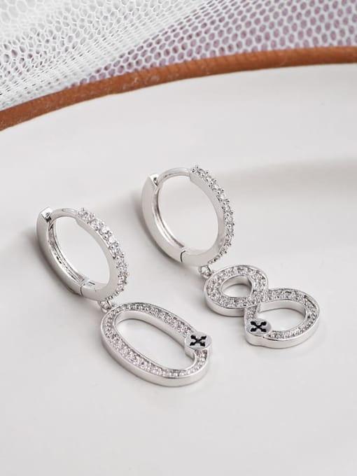 white  number 8 Brass Cubic Zirconia White Irregular Dainty Stud Earring