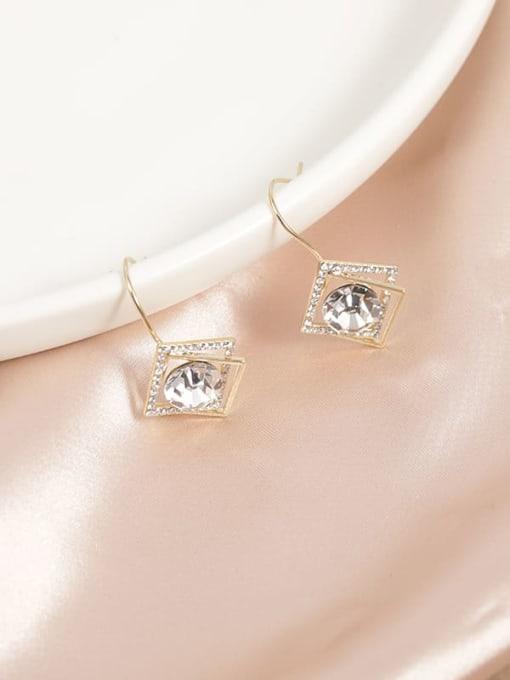 Gold Brass Cubic Zirconia White Geometric Minimalist Drop Earring