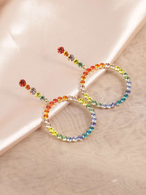 Lin Liang Brass Rhinestone Multi Color Round Dainty Drop Earring 0