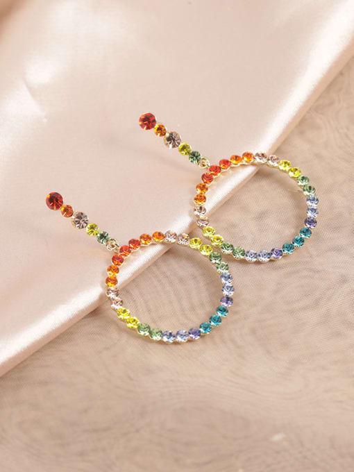 Lin Liang Brass Rhinestone Multi Color Round Dainty Drop Earring