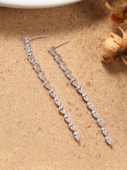 Lin Liang Brass Cubic Zirconia White Rectangle Minimalist Drop Earring 0