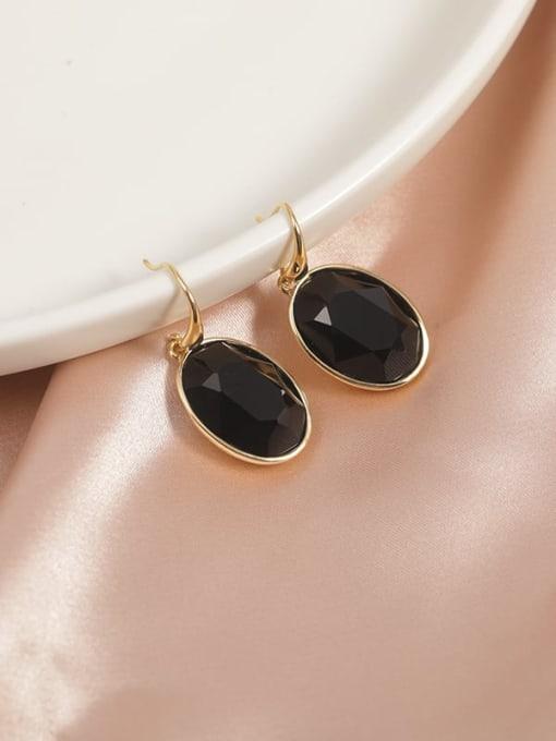 Gold Brass Cubic Zirconia Black Round Classic Hook Earring