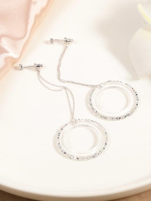 Lin Liang Brass Cubic Zirconia White Plastic Round Minimalist Drop Earring