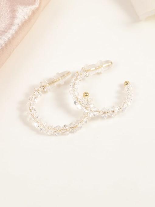 Gold Brass Crystal Clear Geometric Minimalist Hoop Earring