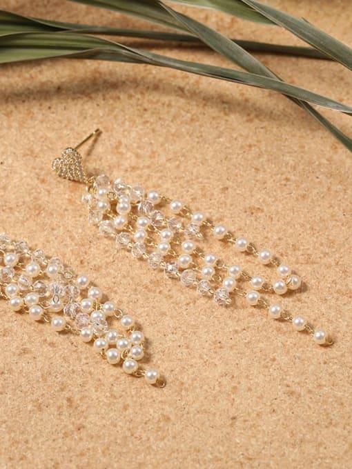 Lin Liang Brass Cubic Zirconia White Tassel Minimalist Drop Earring 1