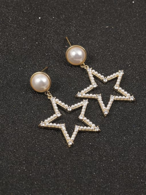 Gold Brass Imitation Pearl White Star Classic Drop Earring