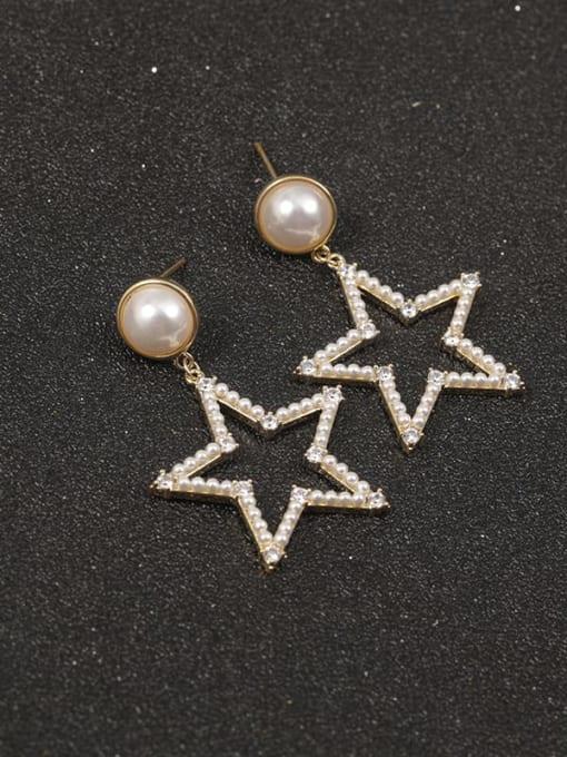 Lin Liang Brass Imitation Pearl White Star Classic Drop Earring