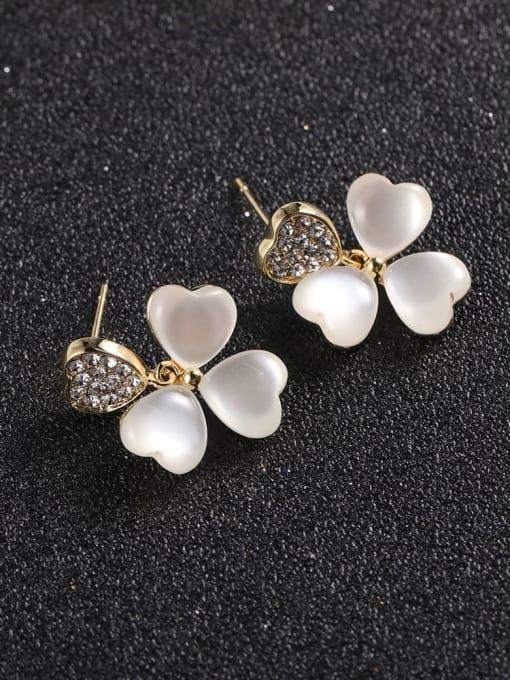 Lin Liang Brass Cubic Zirconia White Flower Dainty Drop Earring