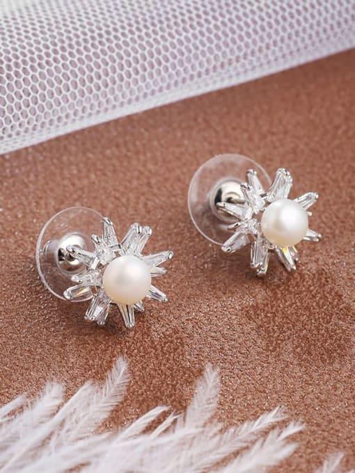 White Brass Cubic Zirconia White Irregular Dainty Stud Earring