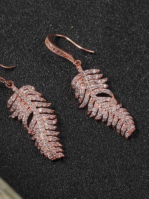 Lin Liang Brass Cubic Zirconia White Leaf Classic Drop Earring 1