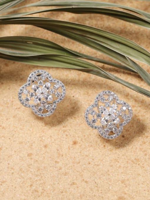 Lin Liang Brass Cubic Zirconia White Clover Dainty Stud Earring 0