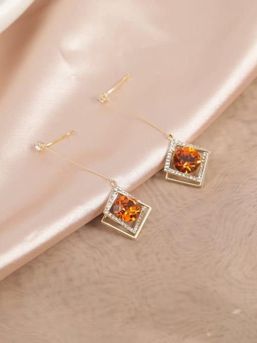 Lin Liang Brass Cubic Zirconia Orange Geometric Minimalist Drop Earring 1