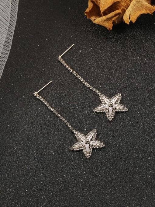 Lin Liang Brass Cubic Zirconia Brown Star Trend Drop Earring