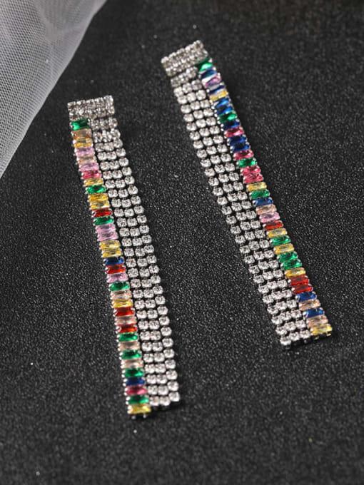 Lin Liang Brass Cubic Zirconia Multi Color Tassel Statement Drop Earring