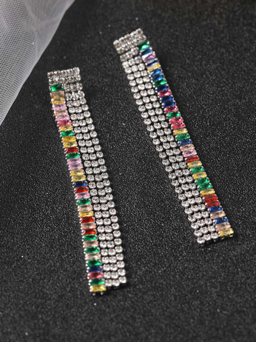 White Brass Cubic Zirconia Multi Color Tassel Statement Drop Earring