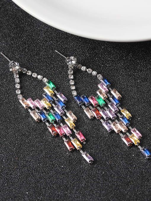 Lin Liang Brass Cubic Zirconia Multi Color Tassel Statement Drop Earring 0
