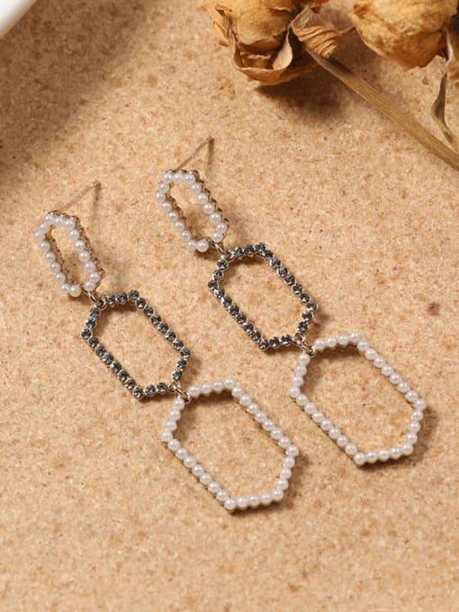 Lin Liang Brass Cubic Zirconia Brown Geometric Dainty Drop Earring 0
