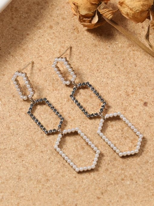 Lin Liang Brass Cubic Zirconia Brown Geometric Dainty Drop Earring