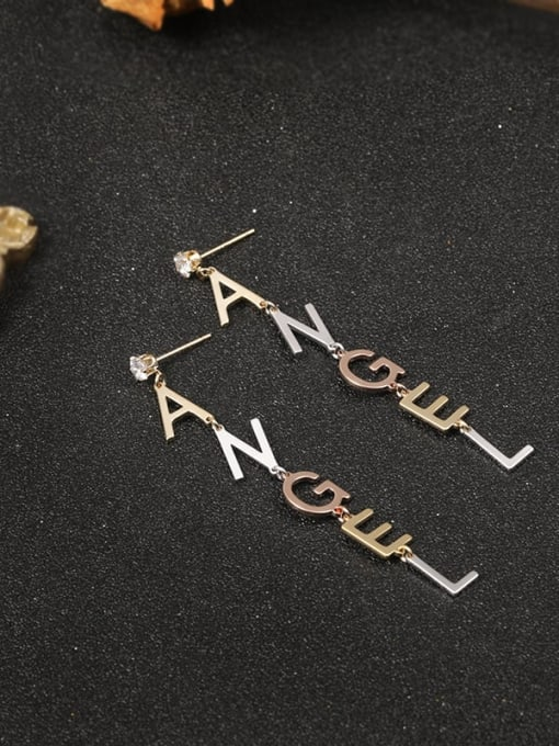 Lin Liang Brass Cubic Zirconia White Letter Minimalist Stud Earring 0