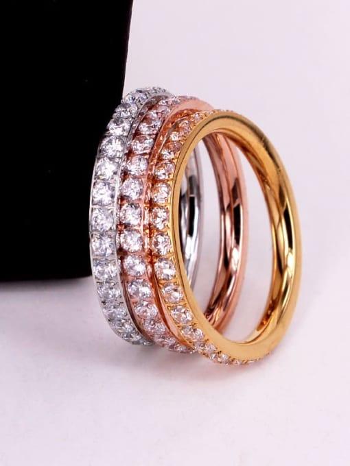 K.Love Titanium Steel Cubic Zirconia Round Minimalist Band Ring 1