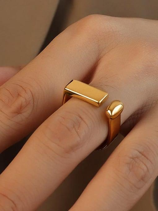 MAKA Titanium 316L Stainless Steel Geometric Minimalist Band Ring with e-coated waterproof 1