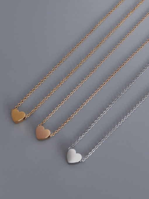 MAKA Titanium Steel Smooth Heart Minimalist Necklace 2