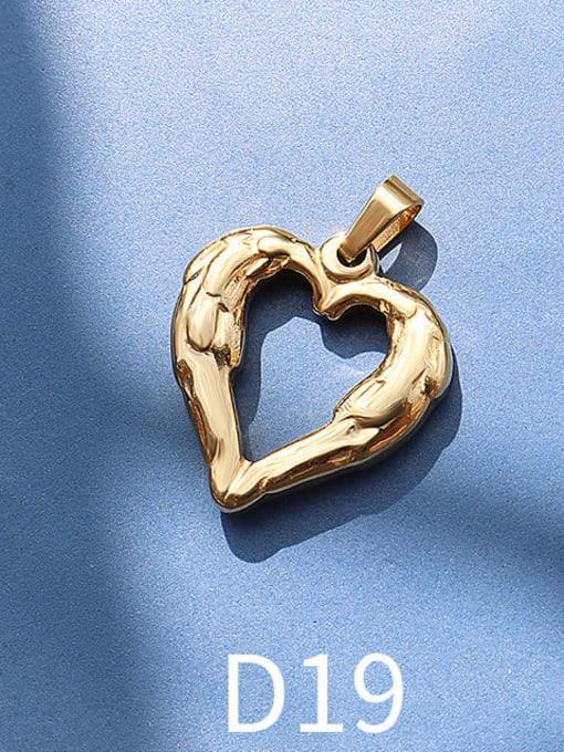 D19 golden peach heart Titanium Steel  Moon Star Vintage Pendant