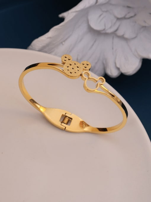 MAKA Titanium 316L Stainless Steel Rhinestone Mickey Mouse Vintage Band Bangle with e-coated waterproof 2