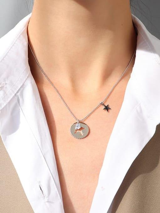 MAKA Titanium Steel Rhinestone Round Minimalist Necklace 3