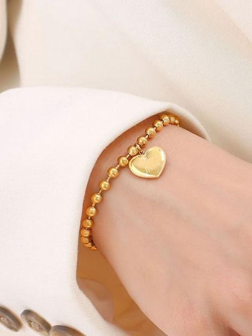 MAKA Titanium Steel Bead Heart Minimalist Beaded Bracelet 3