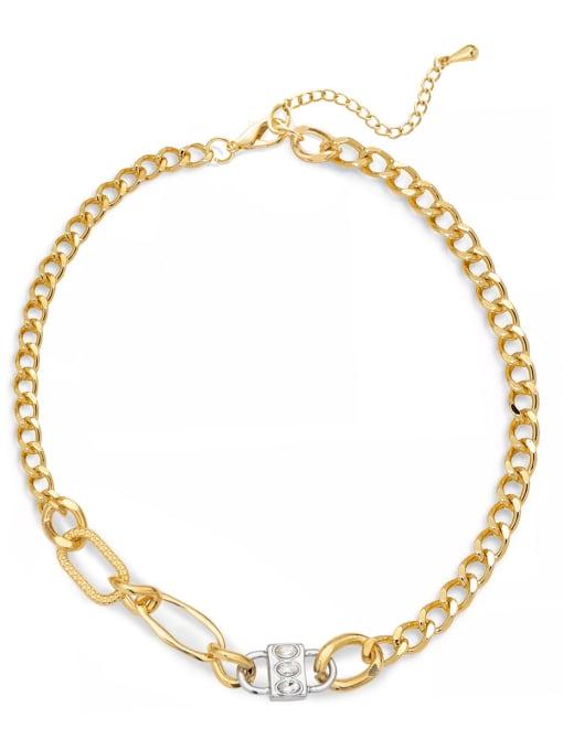 YAYACH Gold and Diamond Lock Hip Hop Cuban Necklace 0