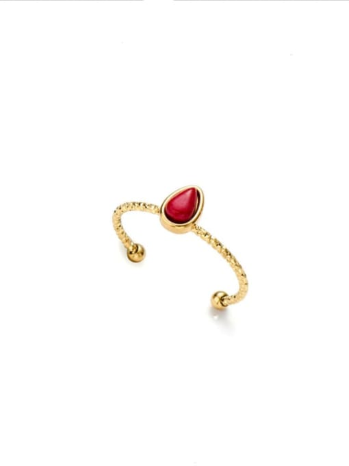 Red Water drop natural stone simple open titanium steel ring