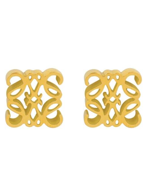 gold Titanium Steel Geometric Vintage Stud Earring