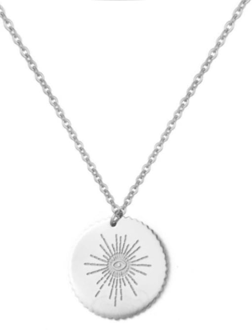 silver Simple and exquisite round stainless steel pendant necklace