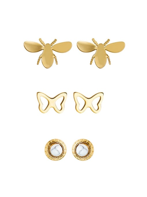 YAYACH Titanium steel Inlaid Turquoise Earrings with female personality bee shape stainless steel earrings 0