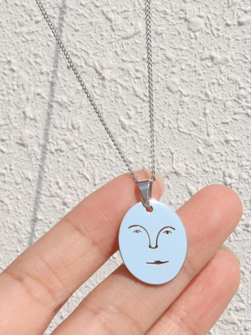 Steel necklace 40+5cm Titanium Steel Geometric Minimalist Human Face Pendant Necklace