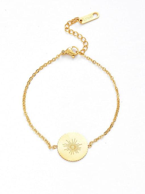 Gold Stainless steel Round Minimalist Link Bracelet