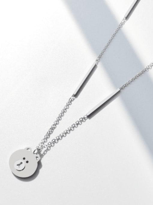 Steel necklace 42 +5cm Titanium Steel Bear Cute Necklace