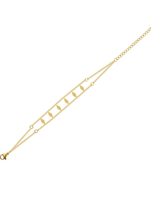 MAKA Titanium Steel Geometric Hip Hop Strand Bracelet 2