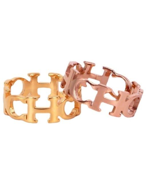 K.Love Titanium Steel Letter Minimalist Band Ring