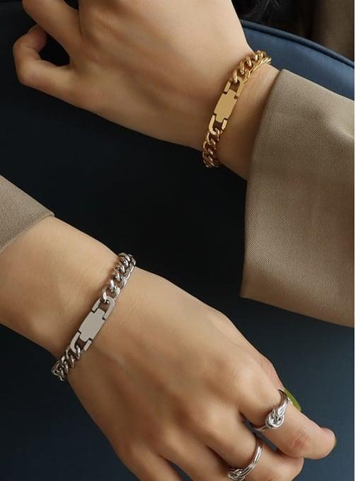 MAKA Titanium Steel Geometric Chain Artisan Link Bracelet 1
