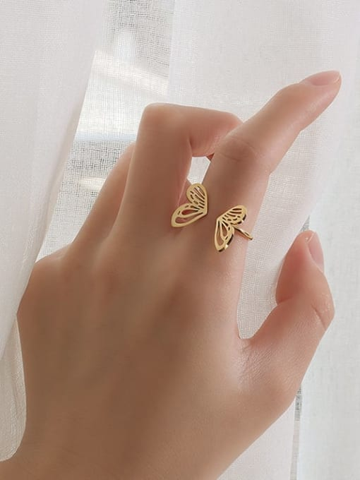 A221 gold ring US 7 Titanium Steel Hollow Butterfly Minimalist Band Ring