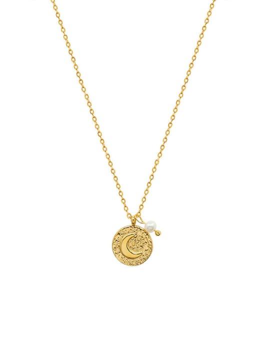 MAKA Titanium Steel Imitation Pearl Moon Vintage Necklace 0