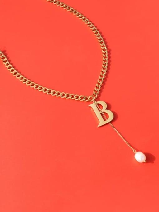 Gold necklace 40+5cm Titanium Steel Imitation Pearl Tassel  Letter B Vintage Necklace