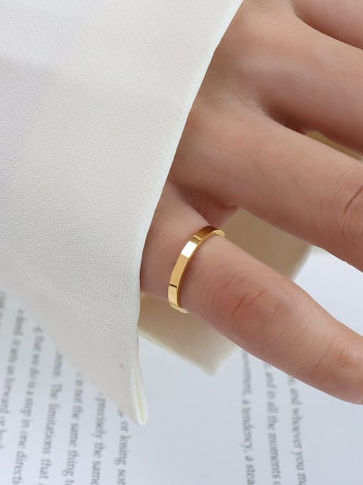 A005  a layer of gold Titanium 316L Stainless Steel Geometric Vintage Band Ring with e-coated waterproof