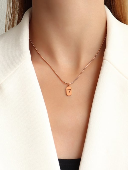 Rose gold 40+5cm Titanium Steel Minimalist  Hollow Number 7 Necklace