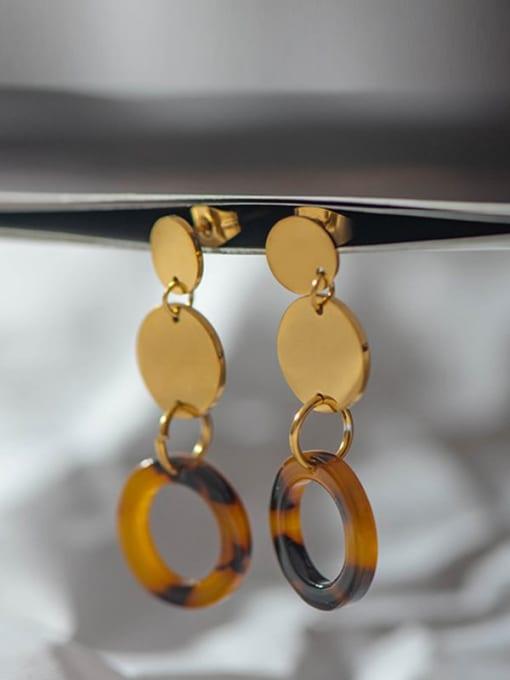 YAYACH Fashion trend acrylic plate titanium steel earrings 1