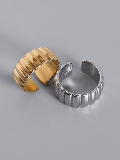 MAKA Titanium Steel Geometric Vintage Band Ring 0