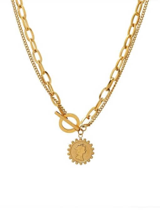 Gold Titanium Steel Geometric Vintage Multi Strand Necklace